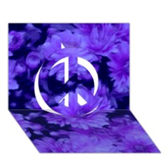 Phenomenal Blossoms Blue Peace Sign 3d Greeting Card (7x5)