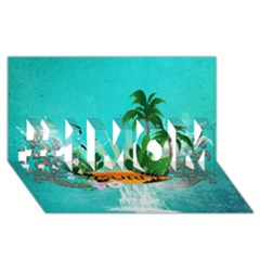 Surfboard With Palm And Flowers #1 Mom 3d Greeting Cards (8x4)  by FantasyWorld7