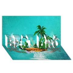 Surfboard With Palm And Flowers Best Bro 3d Greeting Card (8x4)  by FantasyWorld7