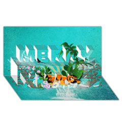 Surfboard With Palm And Flowers Merry Xmas 3d Greeting Card (8x4)  by FantasyWorld7