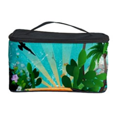 Surfboard With Palm And Flowers Cosmetic Storage Cases by FantasyWorld7