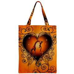 Funny Cute Giraffe With Your Child In A Heart Zipper Classic Tote Bags by FantasyWorld7