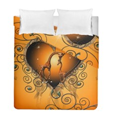 Funny Cute Giraffe With Your Child In A Heart Duvet Cover (Twin Size) by FantasyWorld7