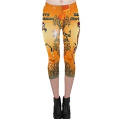 Funny, Cute Christmas Giraffe Capri Leggings