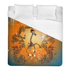 Funny, Cute Christmas Giraffe Duvet Cover Single Side (twin Size) by FantasyWorld7