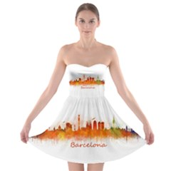 Barcelona City Art Strapless Bra Top Dress by hqphoto