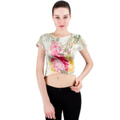 Colorful Floral Collage Crew Neck Crop Top by Dushan