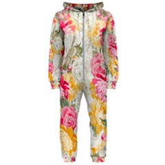Colorful Floral Collage Hooded Jumpsuit (ladies)  by Dushan