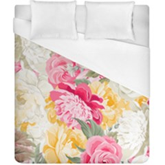 Colorful Floral Collage Duvet Cover Single Side (double Size) by Dushan