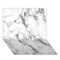 White Marble Stone Print Clover 3d Greeting Card (7x5)  by Dushan