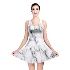 White Marble Stone Print Reversible Skater Dresses by Dushan
