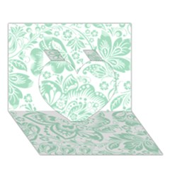 Mint Green And White Baroque Floral Pattern Heart 3d Greeting Card (7x5)  by Dushan