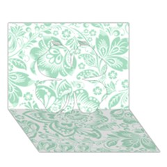 Mint Green And White Baroque Floral Pattern Clover 3d Greeting Card (7x5)  by Dushan