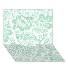 Mint Green And White Baroque Floral Pattern Circle 3d Greeting Card (7x5)  by Dushan