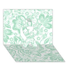 Mint Green And White Baroque Floral Pattern Ribbon 3d Greeting Card (7x5)