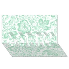 Mint Green And White Baroque Floral Pattern Sorry 3d Greeting Card (8x4)  by Dushan