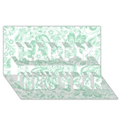 Mint Green And White Baroque Floral Pattern Happy New Year 3d Greeting Card (8x4)  by Dushan