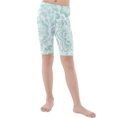 Mint Green And White Baroque Floral Pattern Kid s Swimwear by Dushan