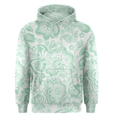 Mint green And White Baroque Floral Pattern Men s Pullover Hoodies