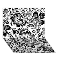 Black Floral Damasks Pattern Baroque Style Clover 3d Greeting Card (7x5)  by Dushan