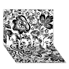 Black Floral Damasks Pattern Baroque Style HOPE 3D Greeting Card (7x5)  by Dushan