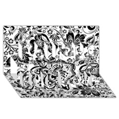 Black Floral Damasks Pattern Baroque Style Laugh Live Love 3d Greeting Card (8x4)  by Dushan