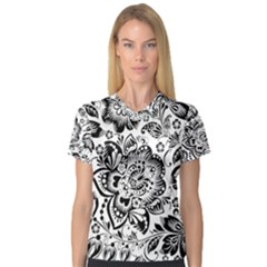 Black Floral Damasks Pattern Baroque Style Women s V-Neck Sport Mesh Tee by Dushan