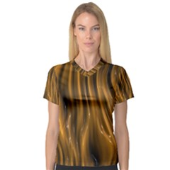 Shiny Silk Golden Women s V Neck Sport Mesh Tee by MoreColorsinLife