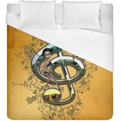 Music, Clef With Fairy And Floral Elements Duvet Cover Single Side (KingSize) by FantasyWorld7