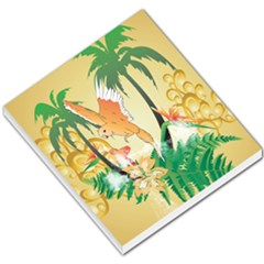 Funny Budgies With Palm And Flower Small Memo Pads by FantasyWorld7