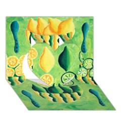 Lemons And Limes Heart 3D Greeting Card (7x5)