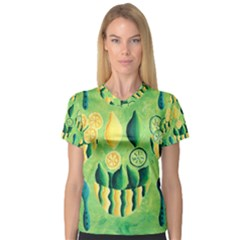 Lemons And Limes Women s V-Neck Sport Mesh Tee by julienicholls