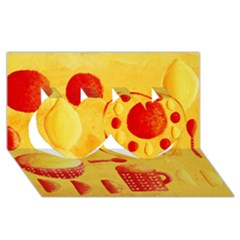 Lemons And Oranges With Bowls  Twin Hearts 3d Greeting Card (8x4)  by julienicholls