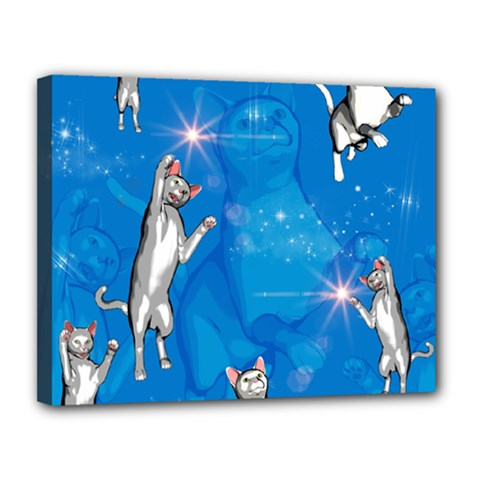 Funny, Cute Playing Cats With Stras Canvas 14  X 11  by FantasyWorld7