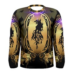 Lion Silhouette With Flame On Golden Shield Men s Long Sleeve T-shirts by FantasyWorld7
