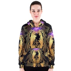 Lion Silhouette With Flame On Golden Shield Women s Zipper Hoodies