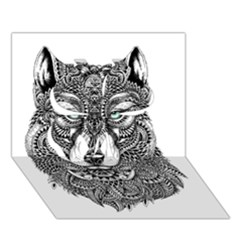 Intricate Elegant Wolf Head Illustration Clover 3d Greeting Card (7x5)  by Dushan