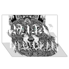 Intricate elegant wolf head illustration Happy New Year 3D Greeting Card (8x4)  by Dushan