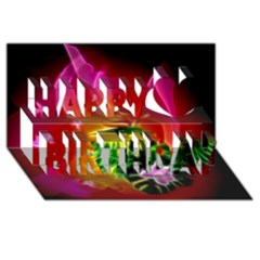 Awesome F?owers With Glowing Lines Happy Birthday 3d Greeting Card (8x4)  by FantasyWorld7