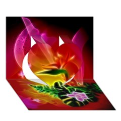 Awesome F?owers With Glowing Lines Heart 3d Greeting Card (7x5)  by FantasyWorld7