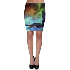 Fantasy Landscape With Lamp Boat And Awesome Sky Bodycon Skirts by FantasyWorld7