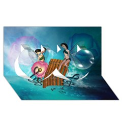 Music, Pan Flute With Fairy Twin Hearts 3d Greeting Card (8x4)  by FantasyWorld7