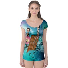 Music, Pan Flute With Fairy Short Sleeve Leotard by FantasyWorld7