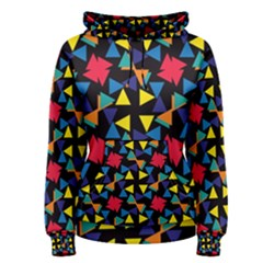 Colorful Triangles And Flowers Pattern Women s Pullover Hoodie by LalyLauraFLM