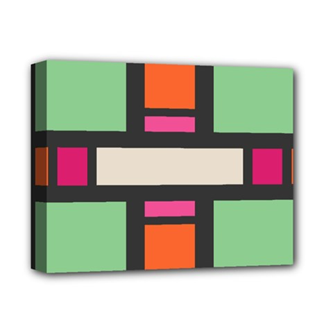 Rectangles cross Deluxe Canvas 14  x 11  (Stretched) by LalyLauraFLM
