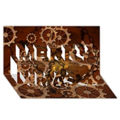 Steampunk In Rusty Metal Merry Xmas 3d Greeting Card (8x4)  by FantasyWorld7