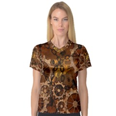 Steampunk In Rusty Metal Women s V-Neck Sport Mesh Tee by FantasyWorld7
