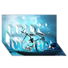 Underwater World With Shipwreck And Dolphin Best Wish 3d Greeting Card (8x4)  by FantasyWorld7