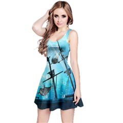 Underwater World With Shipwreck And Dolphin Reversible Sleeveless Dresses by FantasyWorld7