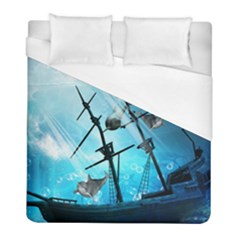 Underwater World With Shipwreck And Dolphin Duvet Cover Single Side (twin Size) by FantasyWorld7